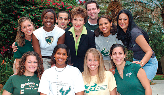 Judy Genshaft and USF Students